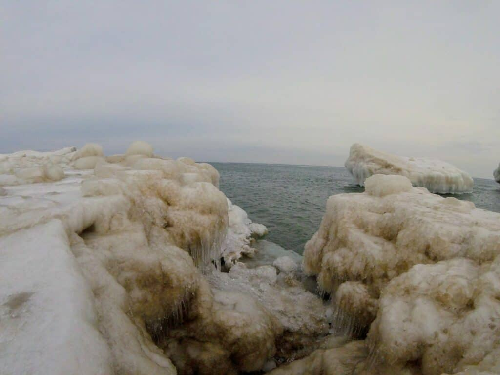 Ice formations on Lake Superior beach