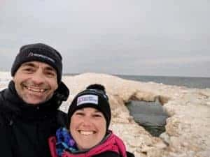 smiling couple with ice formation