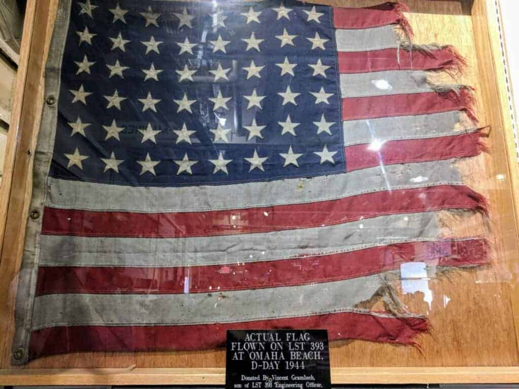 wind-damaged U.S. flag from WWII