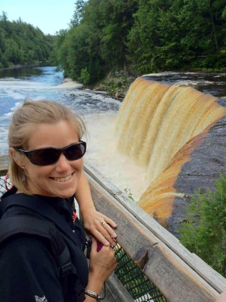 Woman at Tahquamenon Falls overlook