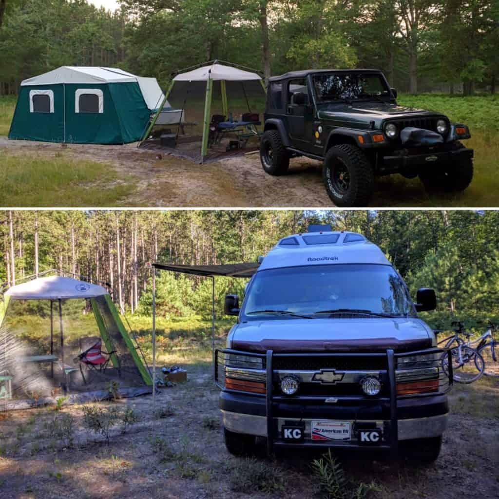 Jeep and Class B RV in campsite