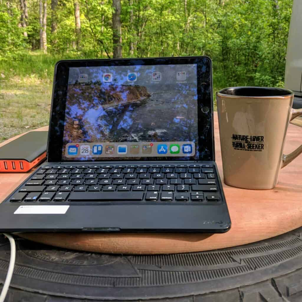 iPad on tabletop
