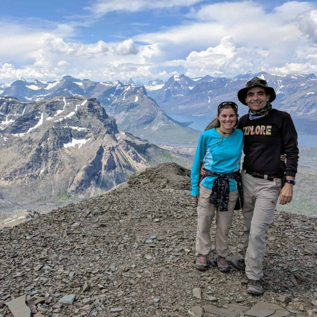 Woman and man at top of mountain