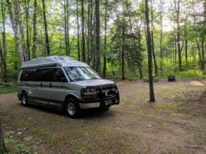 Class B RV in campsite