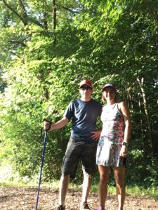 Couple on wooded trail