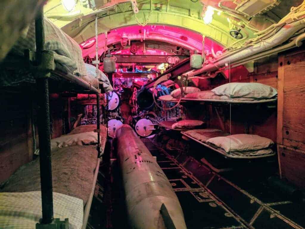 WWII submarine front torpedo room