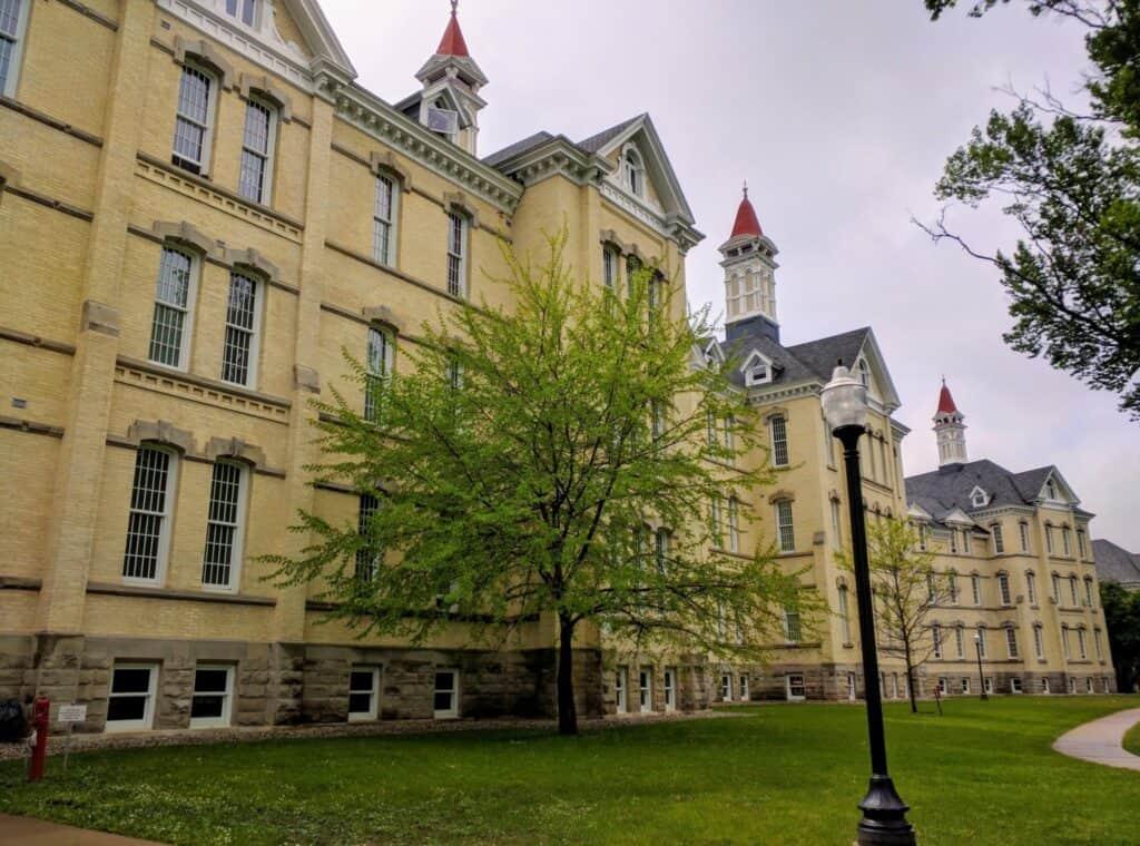 Large restored historic hospital building