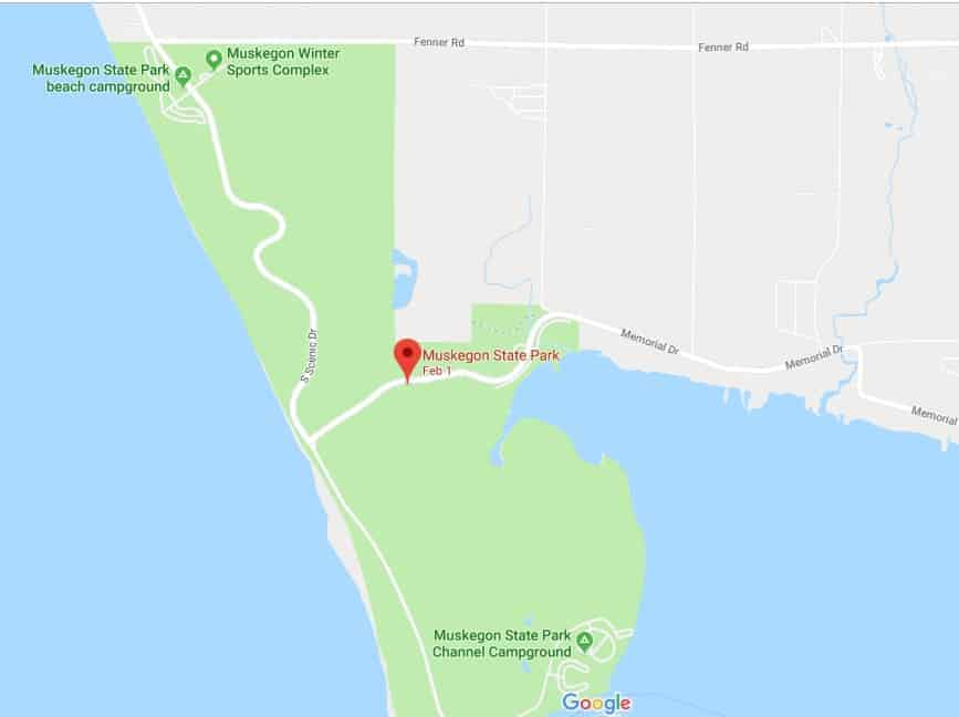 Google locator map of Muskegon State Park campgrounds