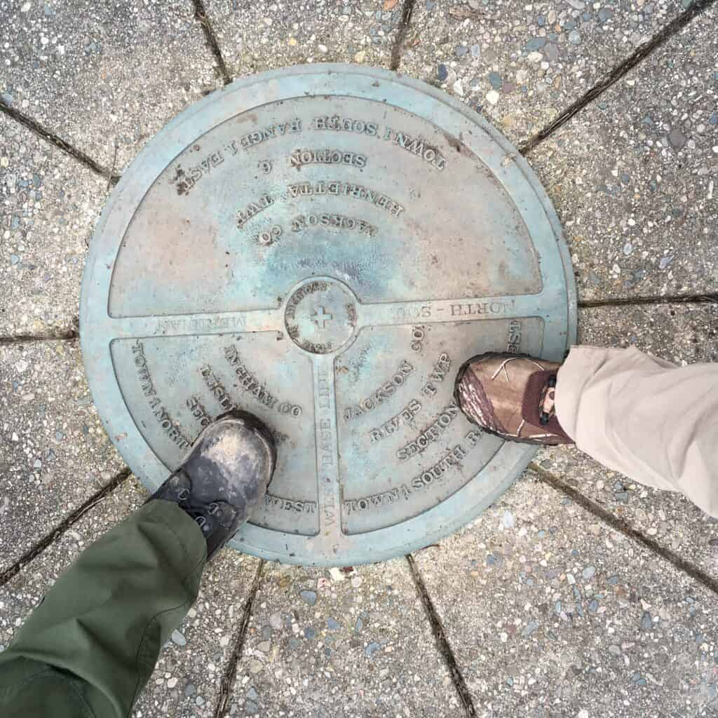monumental survey marker of Michigan's baseline