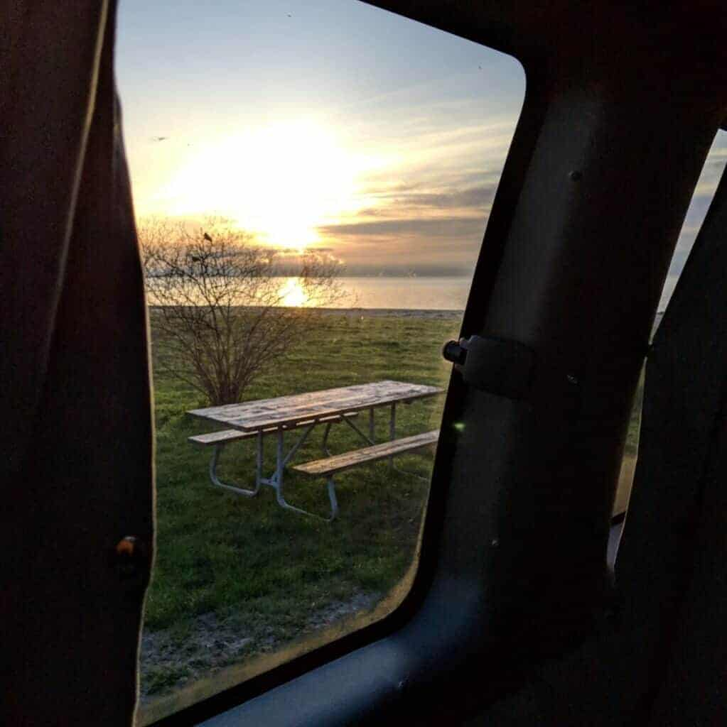 Sunrise picture over Lake Erie from Michigan