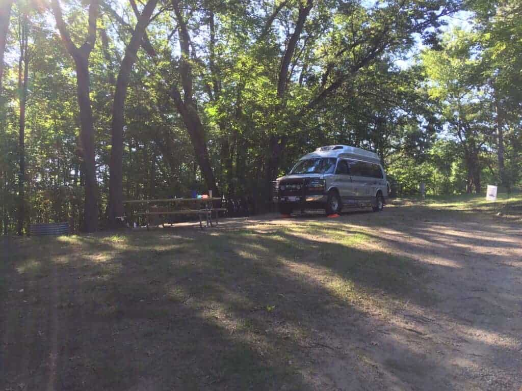 Camper van in a state park