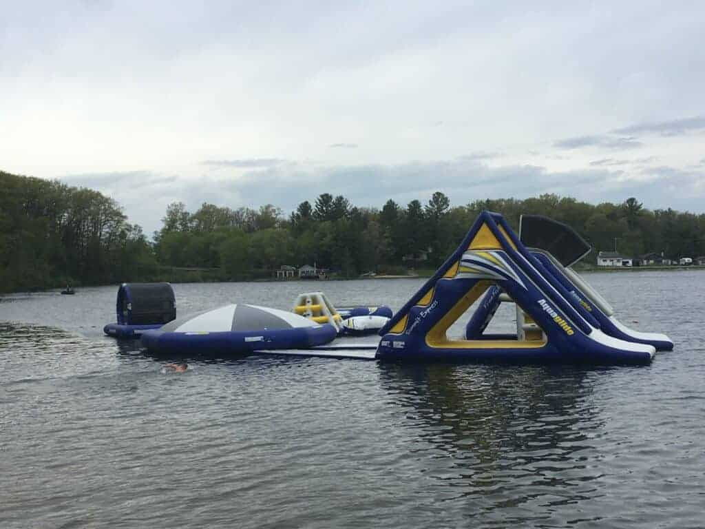 Floating water park in a lake