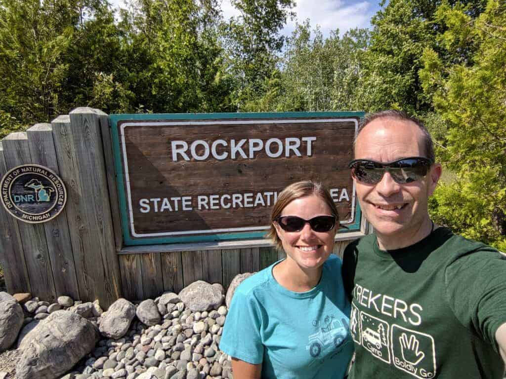 Ari and Jessi by Rockport entrance sign