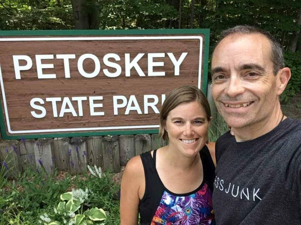 Ari and Jessi at Petoskey State Park sign