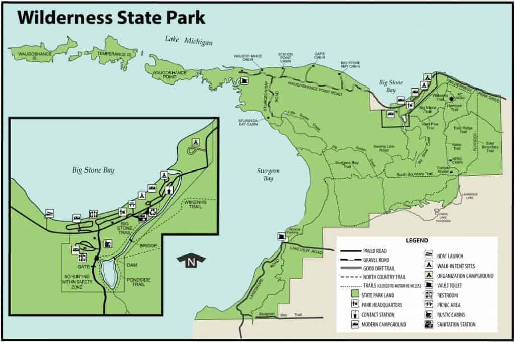 Map of Wilderness State Park