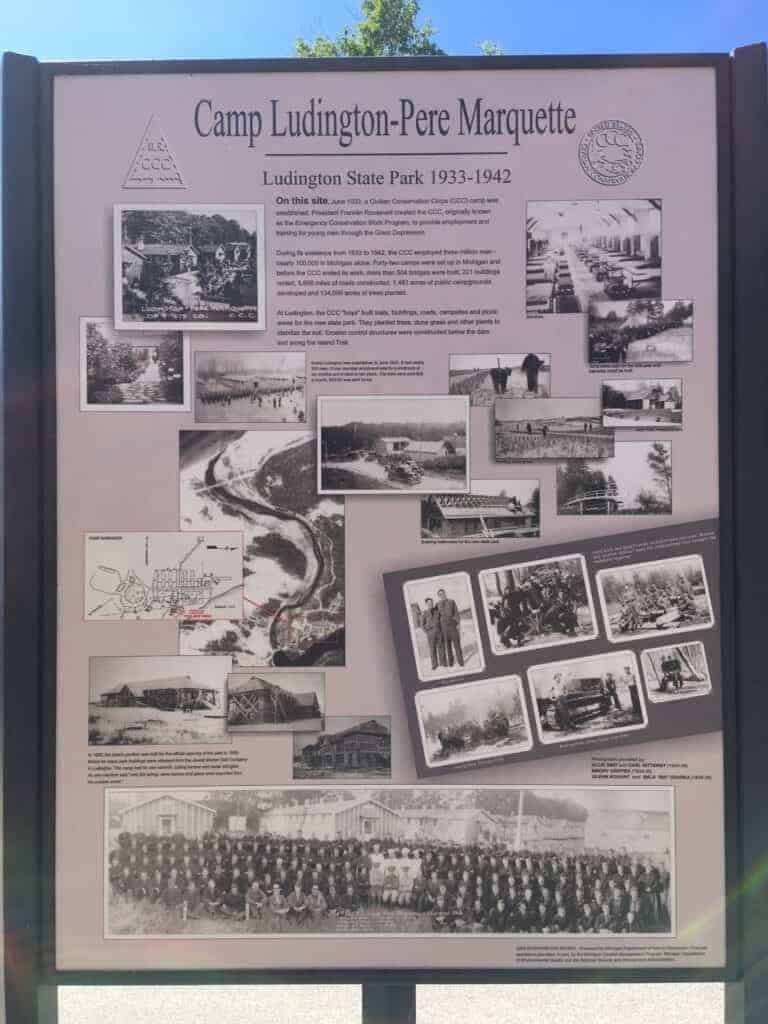 Historical sign about Ludington State Park
