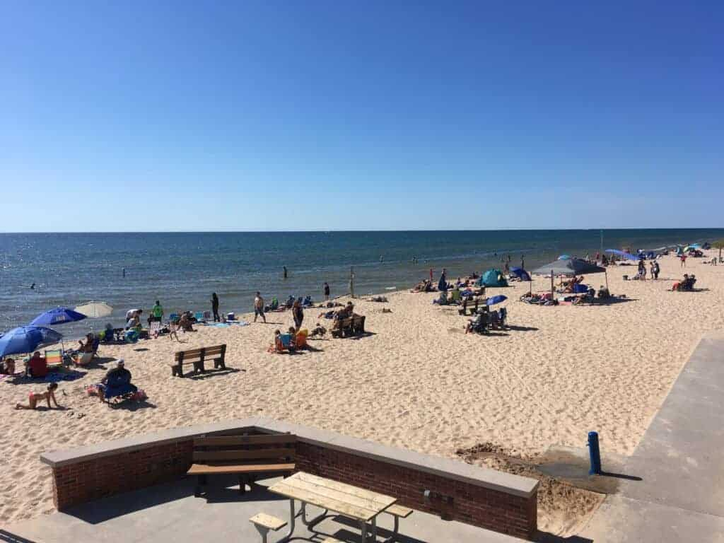 People on the beach at Ludington State Park