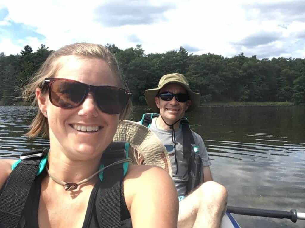 Two people in a kayak at Ludington State Park