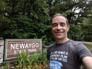 Ari in front of the Newaygo State Park sign