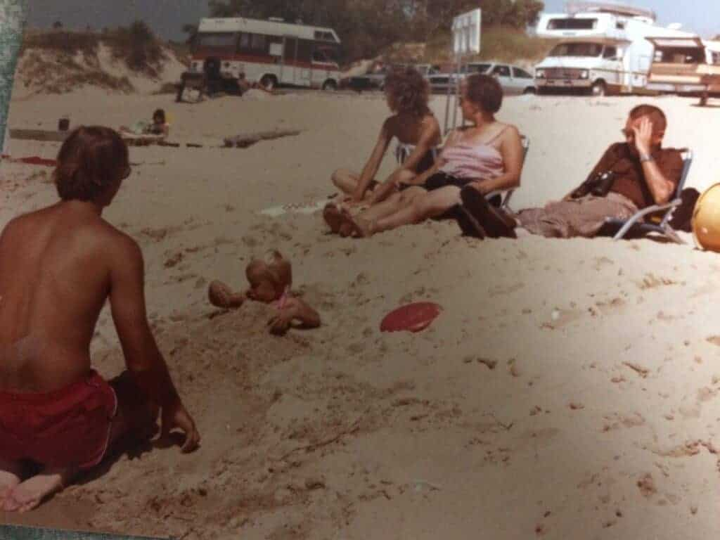 People on the Ludington State Park Beach in 1983