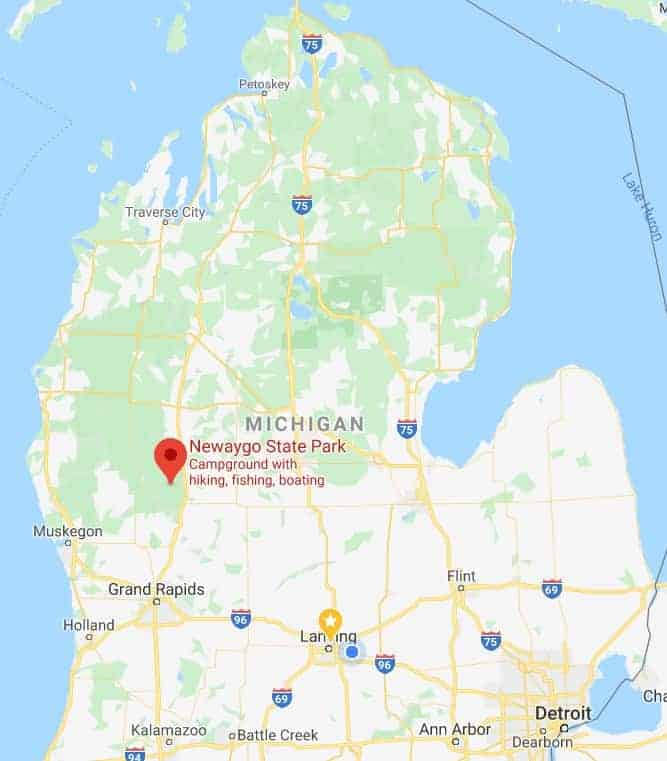 Map showing the location of Newaygo State Park