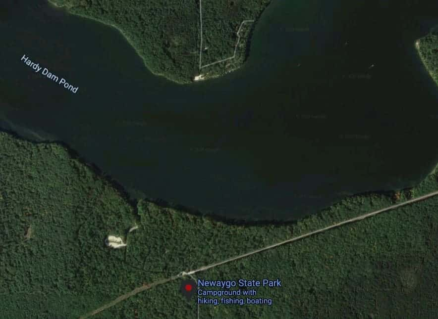 Satellite map of Hardy Dam Pond and Newaygo State Park