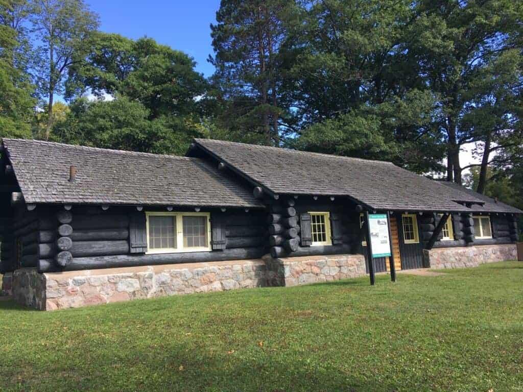 1933 log bathhouse at Bewabic State Park
