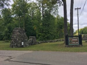 Fieldstone wall and state park entrance sign
