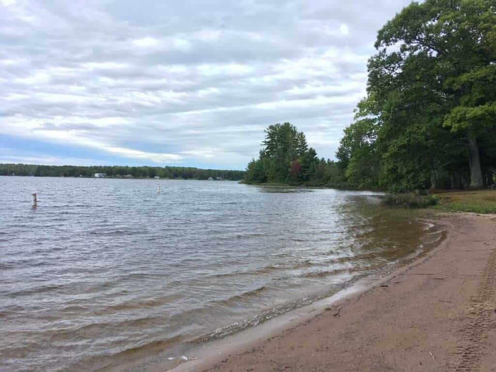 Beach and lake at Twin Lakes State Park