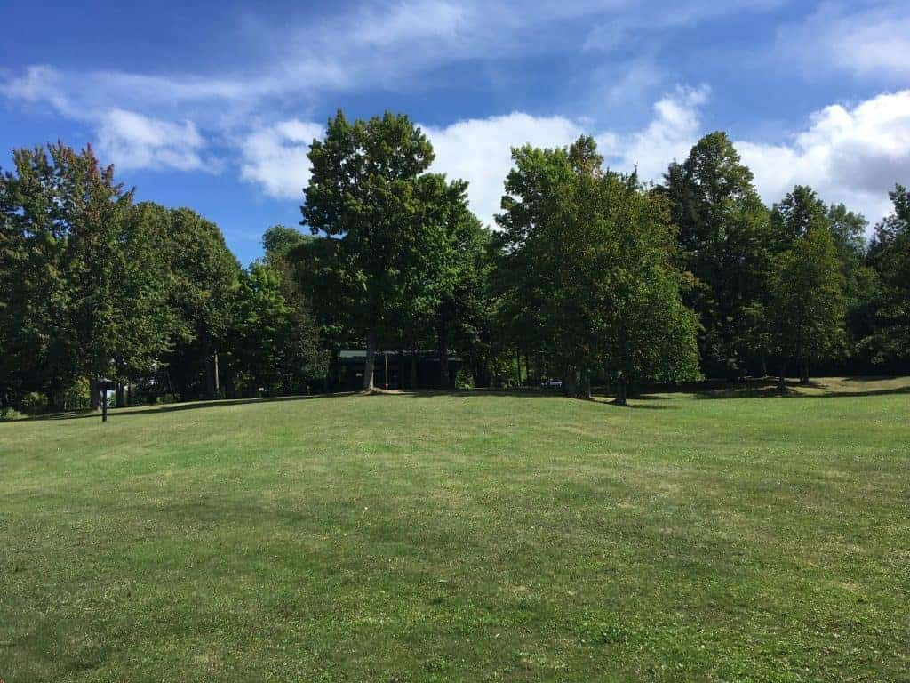 Grassy picnic area at Lake Gogebic State Park