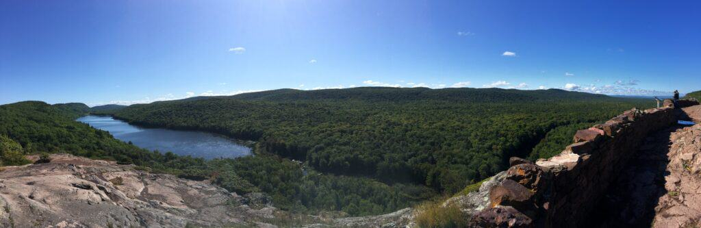 Panoramic view of Lake of the Clouds at Porcupine Mountains Wilderness State Park