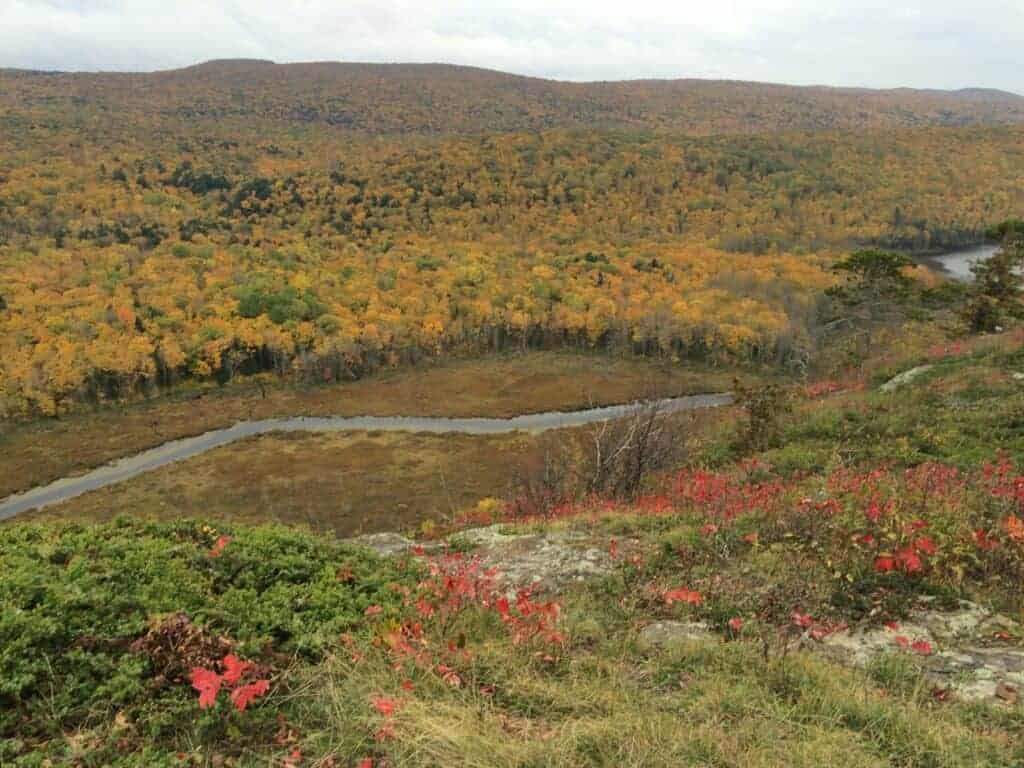 A wide angle view overlooking the mountains of Porcupine Mountains Wilderness State Park