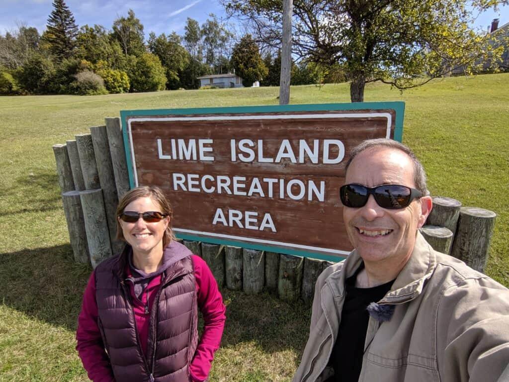 Lime Island entrance sign