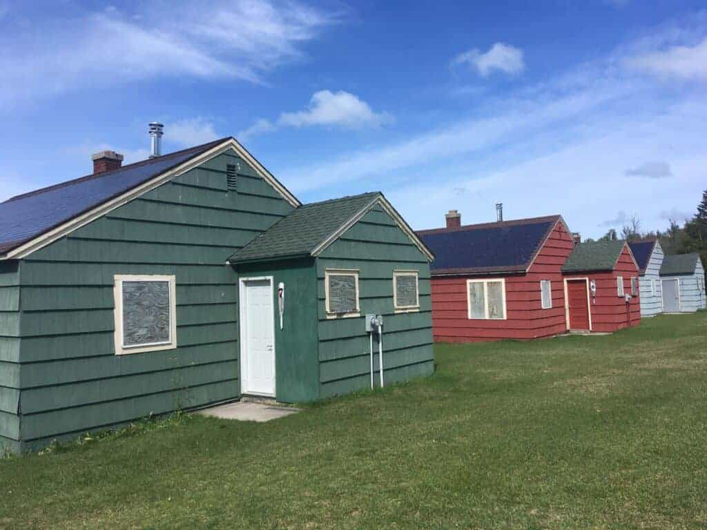 Row of cabins on Lime Island Recreation Area
