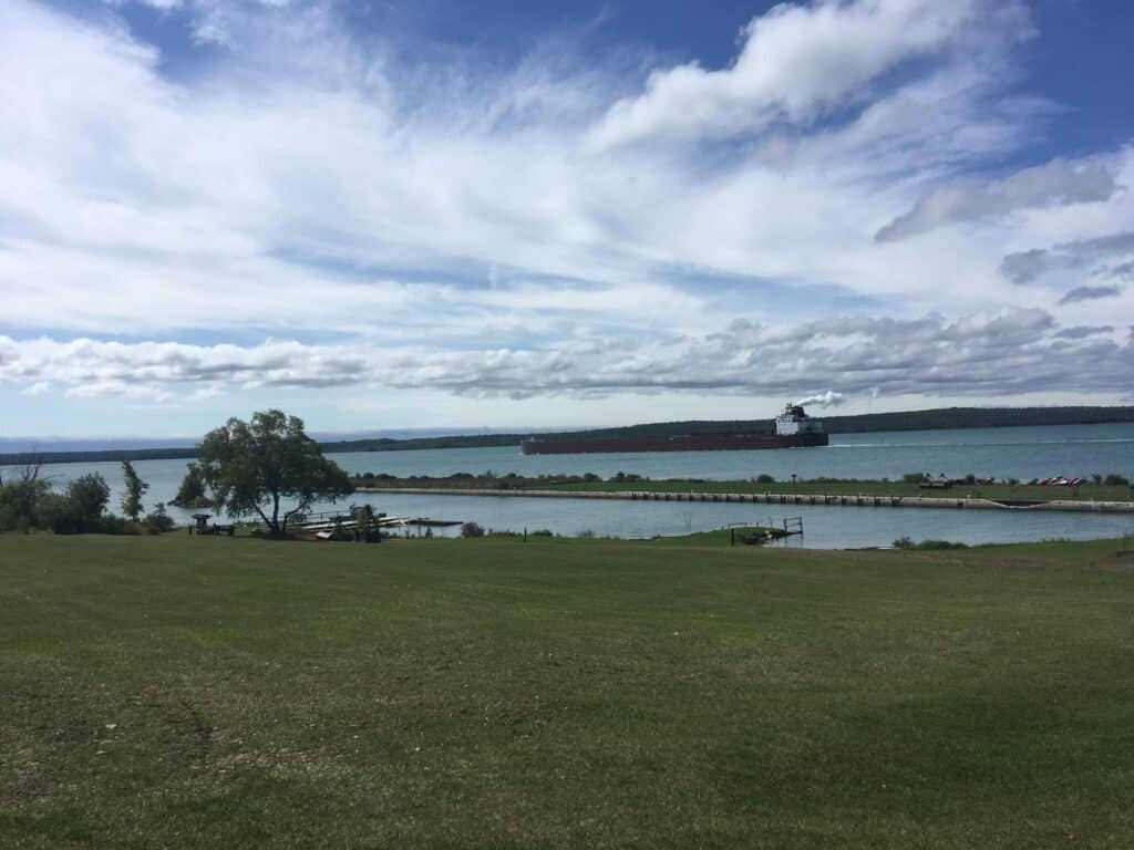 Great Lakes Freighter passing by Lime Island