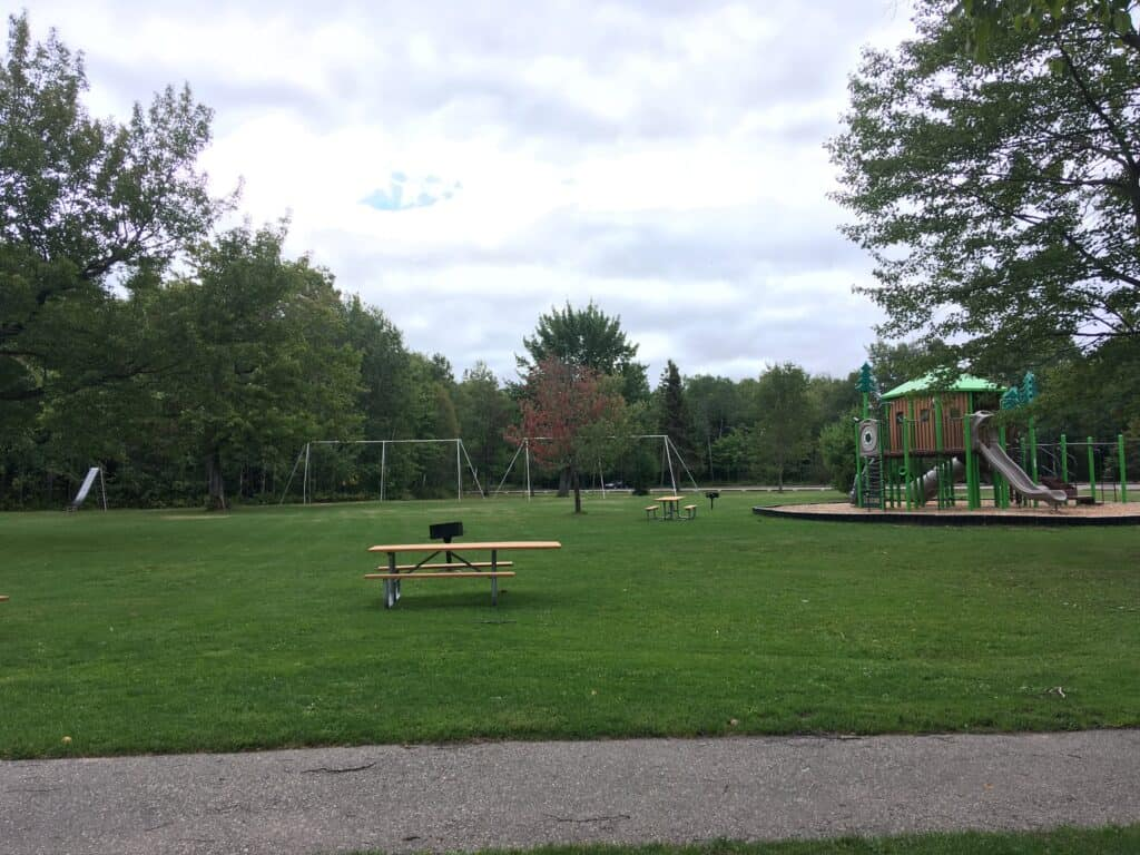 The playground and picnic area at Brimley State Park