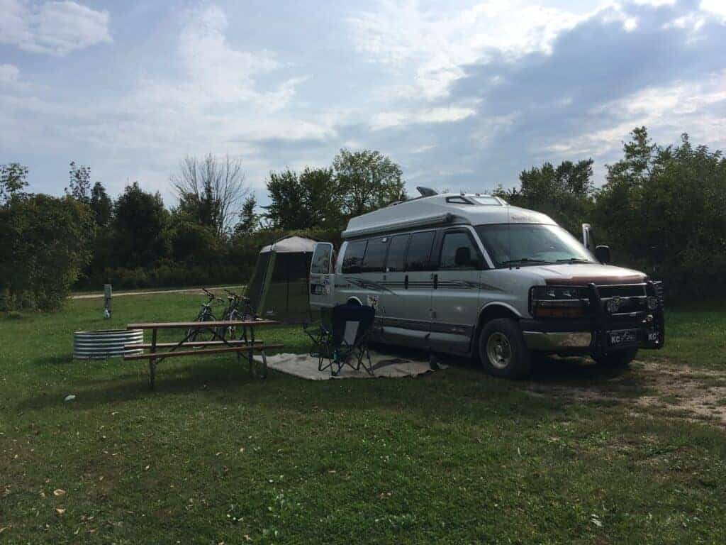 Roadtrek van camping at Lake Hudson Recreation Area