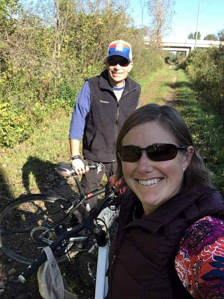A man and woman with bikes on the Van Buren Trail State Park