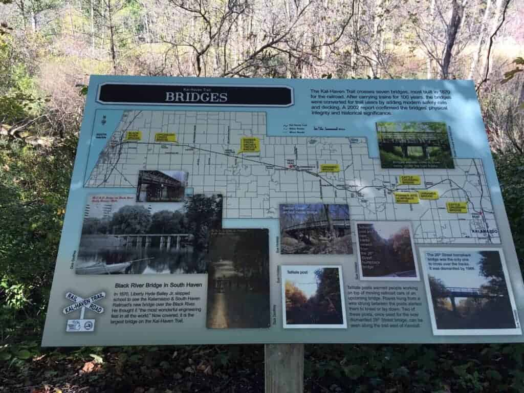 A historical interpretive sign on the Kal-Haven Trail
