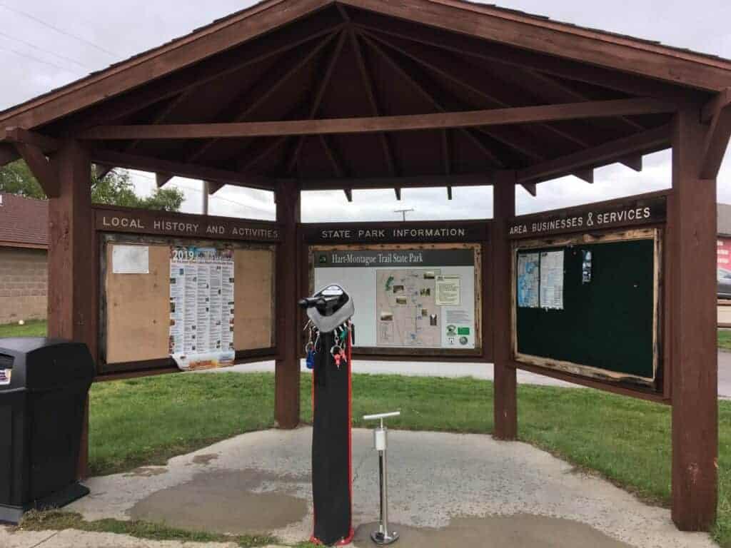 Bike fix-it station at Hart-Montague State Park